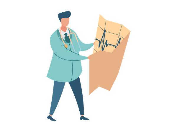 Cardiologist checking cardiology report Illustration