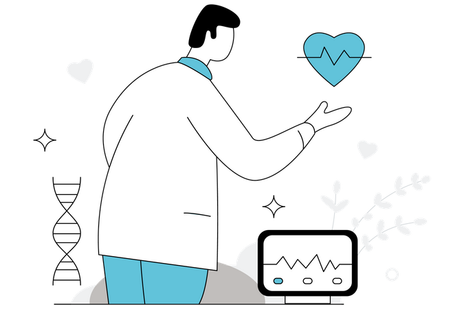 Cardiologist checking heart Illustration