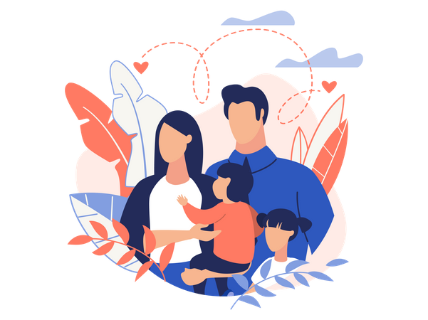 Care of Businessman and family Illustration