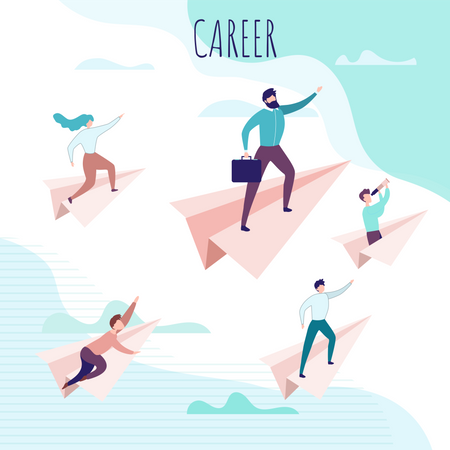 Career Poster with People Flying on Paper Planes Illustration