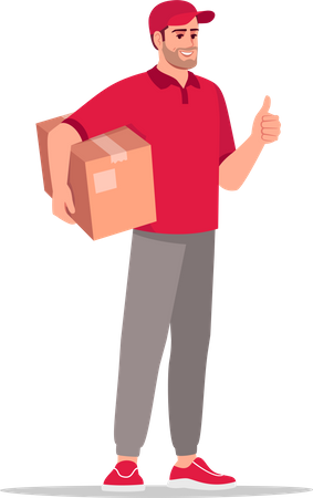 Cargo delivery by postman Illustration