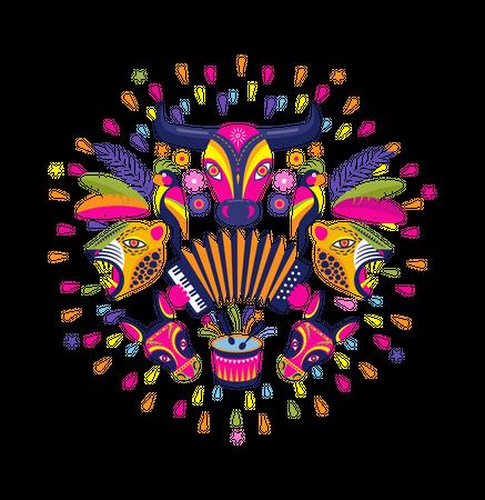 Carnaval de Barranquilla, Colombian carnival party Illustration