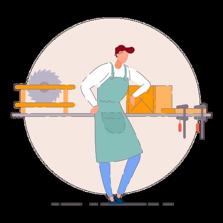 Carpenter and textile shop owner Illustration