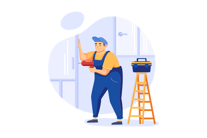 Carpenter drilling on wall Illustration