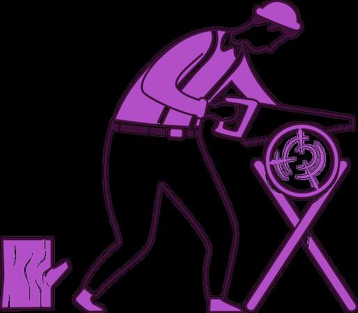 Carpenter with saw Illustration