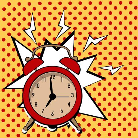 Cartoon pop art alarm clock Illustration