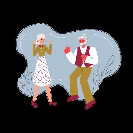 Cartoon senior couple dancing together Illustration