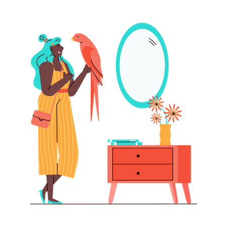 Cartoon woman holding pink parrot in her home living room Illustration