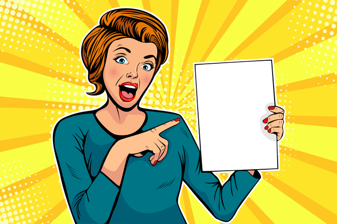 Cartoon woman points to a blank template Illustration