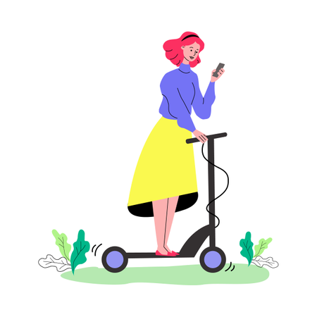 Cartoon woman riding electric scooter and looking at mobile phone screen Illustration