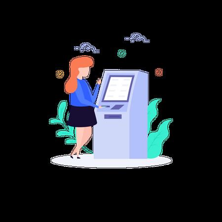 Cash Withdrawal via bank atm machine Illustration