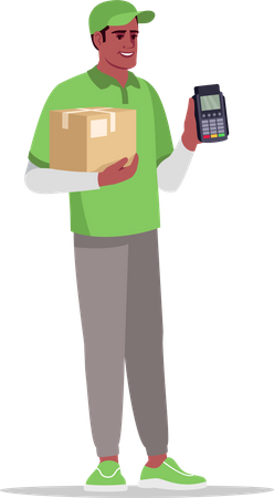 Cashless payment for delivery Illustration