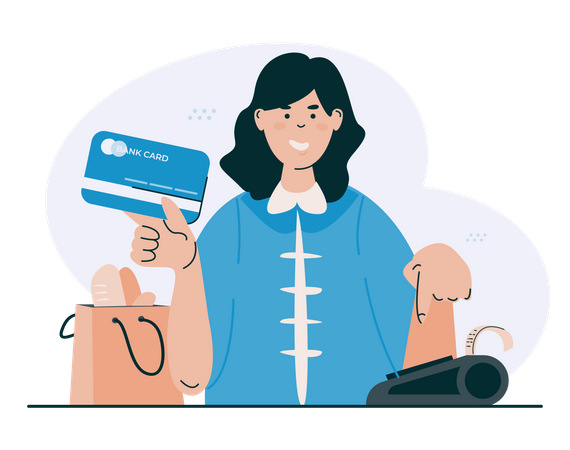 Cashless payment with bank card Illustration