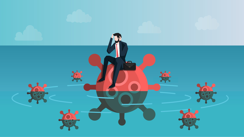 Castaway Businessman Feeling Anxiety While Sitting on Virus Island Illustration