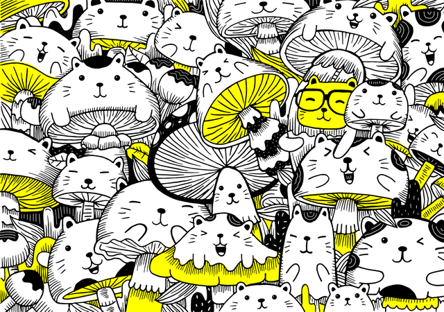 Cat and Mushroom pattern wallpaper Illustration