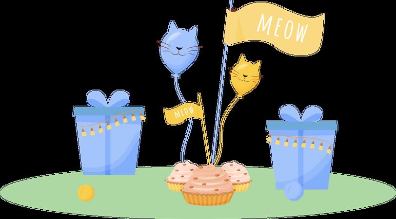 Cat birthday presents Illustration