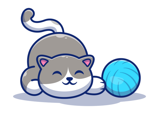 Cat playing with ball Illustration