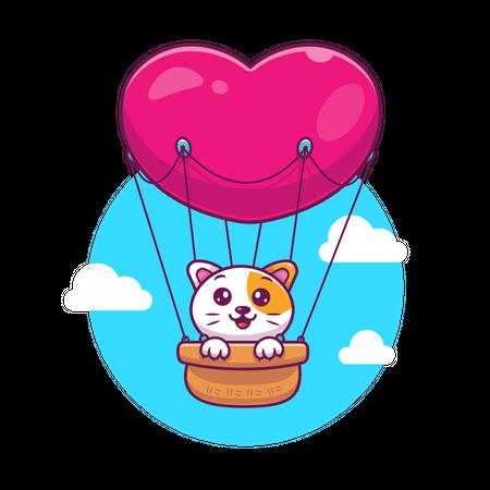 Cat sitting in air balloon Illustration