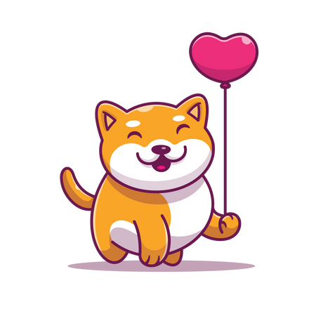 Cat with Love balloon Illustration