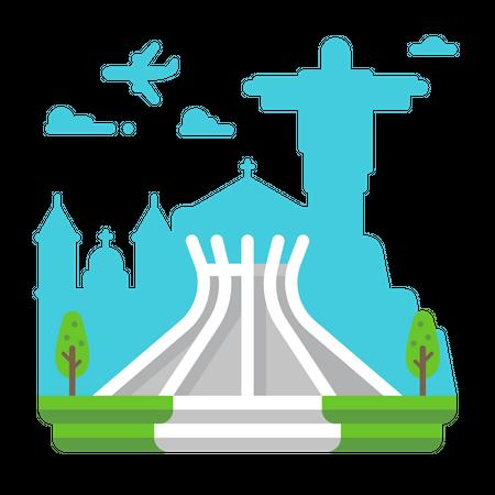 Cathedral Brasilia Illustration