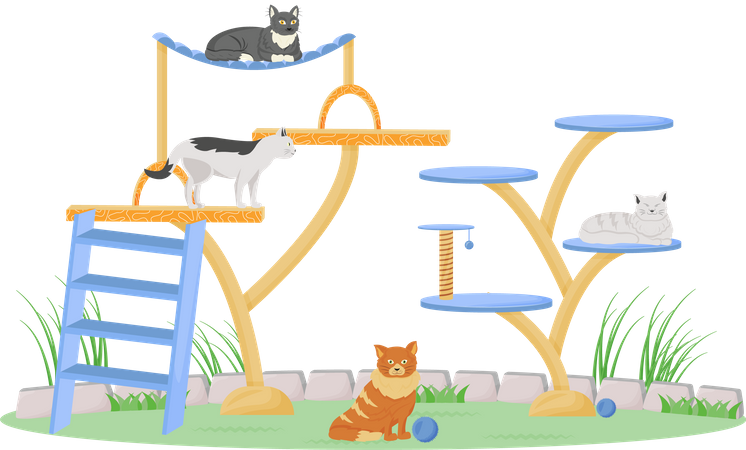 Cats on play tower Illustration