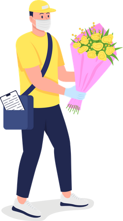 Caucasian delivery man with flowers in medical mask Illustration