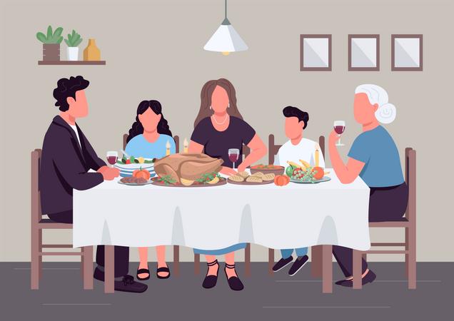 Family dinner Illustration