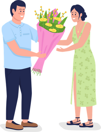 Caucasian man giving happy woman flowers Illustration