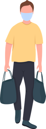 Caucasian man in mask with bags Illustration