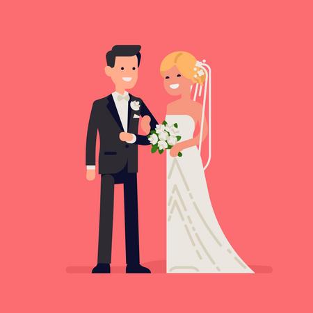 Caucasian newlyweds standing together wearing wedding dresses Illustration