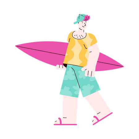 Caucasian young man surfer cartoon character standing with surfboard Illustration