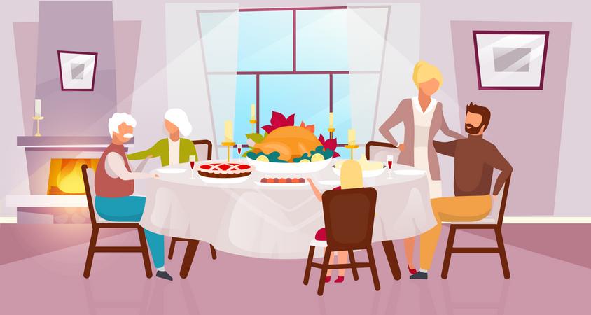 Celebrating harvest together with grandparents Illustration
