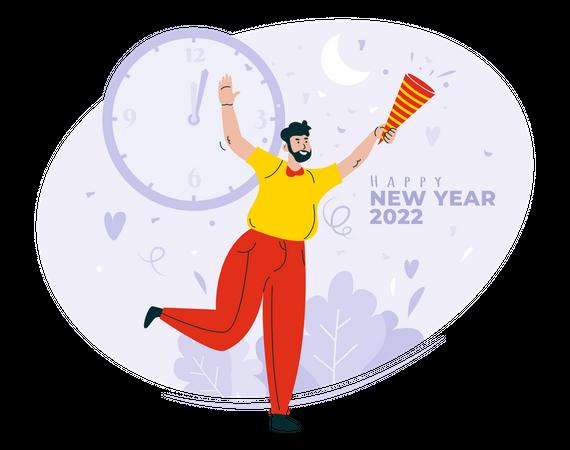 Celebrating new year 2022 Illustration