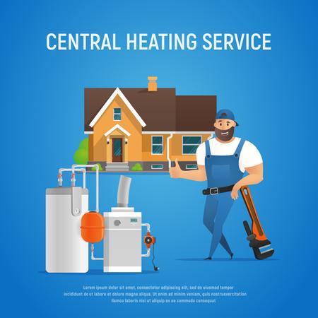 Central heating service Illustration