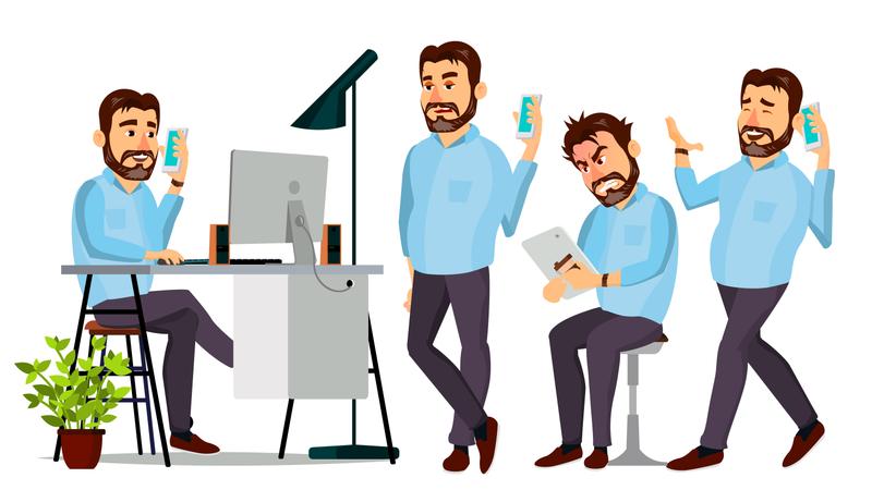 Ceo Working Gestures Illustration