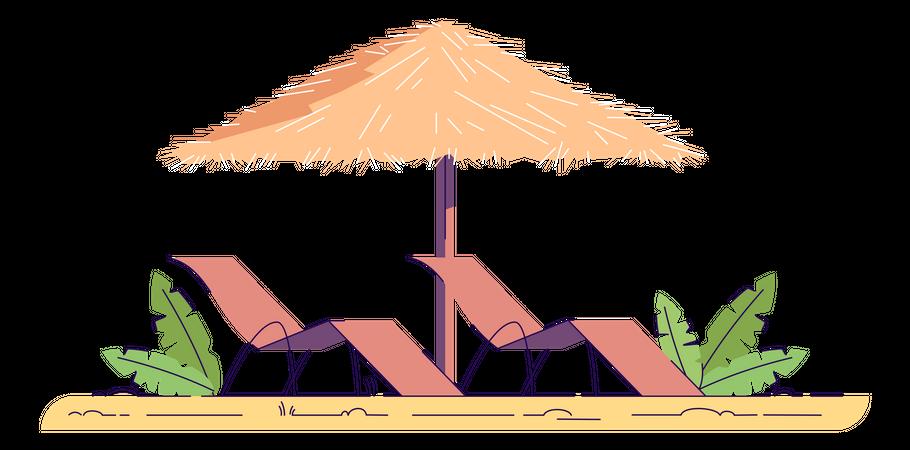 Chairs with umbrella Illustration