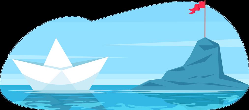 Challenge metaphor with paper boat Illustration