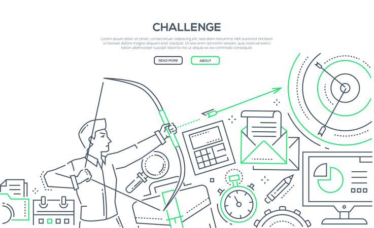 Challenge - Modern Line Design Style Illustration Illustration