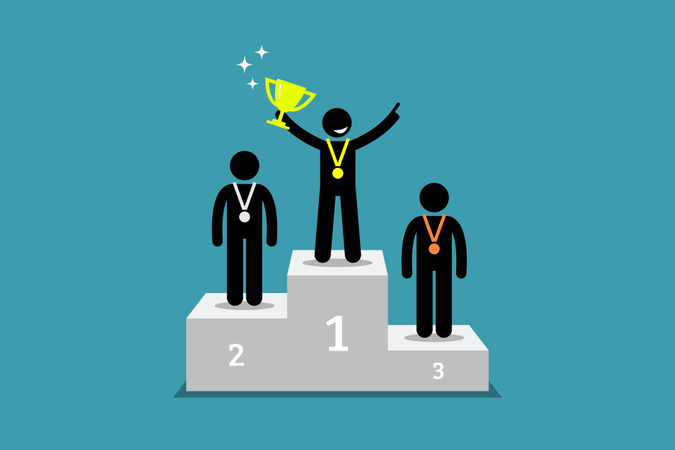Champion standing on a podium with first and second runner up Illustration