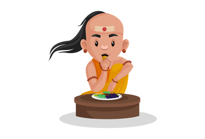 Chanakya eating fruits Illustration