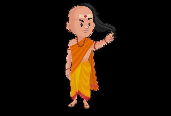 Chanakya pointing finger Illustration