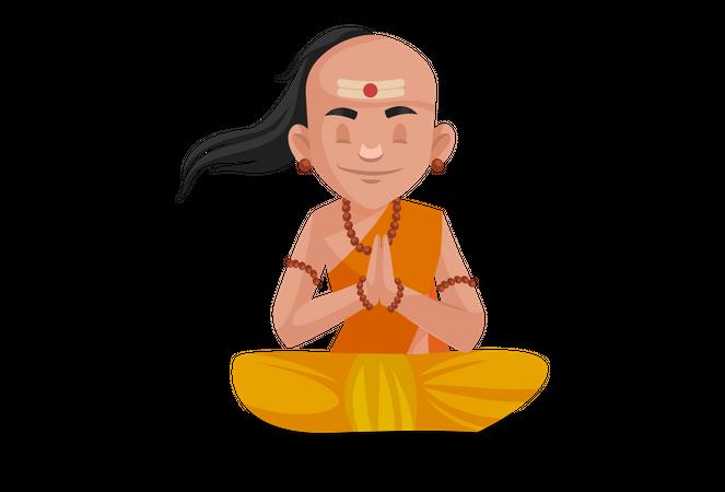 Chanakya praying to god Illustration