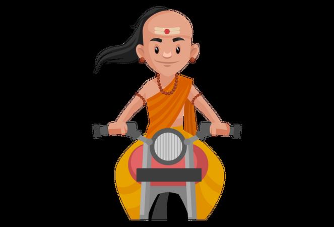 Chanakya riding bike Illustration
