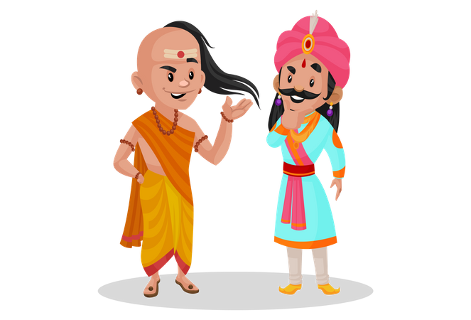 Chanakya talking with samrat ashok Illustration