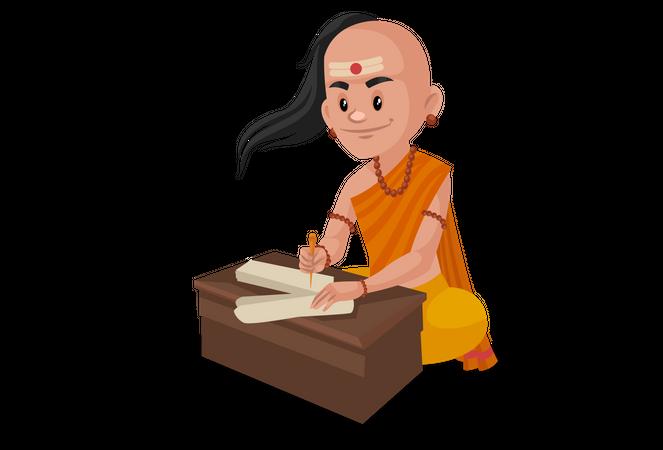 Chanakya writing letter Illustration