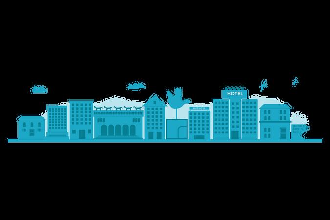 Chandigarh skyline blue silhouette Illustration