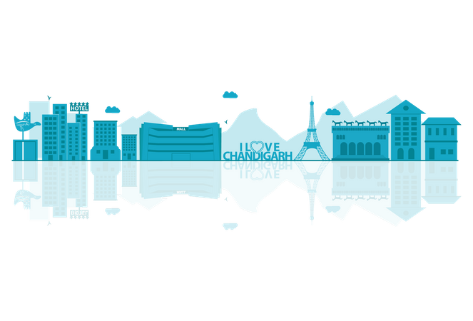 Chandigarh Skyline silhouette with reflections Illustration