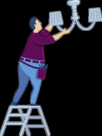 Changing light bulb Illustration
