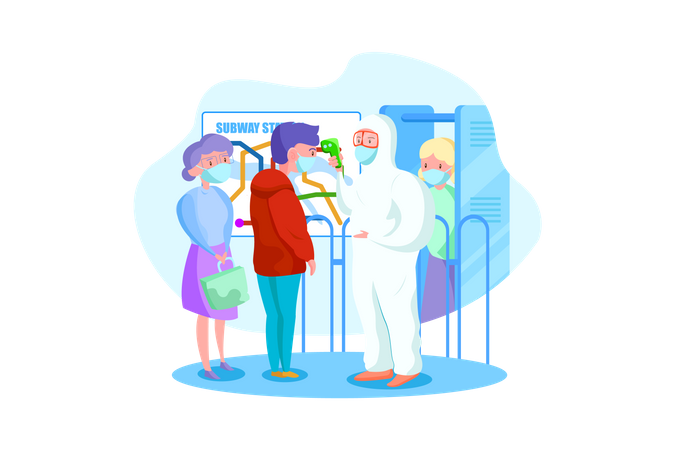 Character in hazmat suit checking temperature at subway station Illustration
