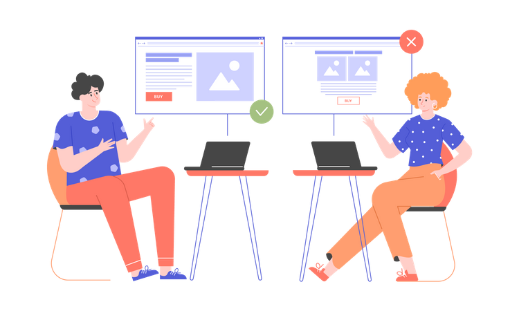 Characters sit at different laptops and compare the design of the website Illustration